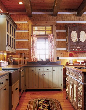 Cabin paint colors on pinterest rustic paint colors for Cabin style kitchen cabinets