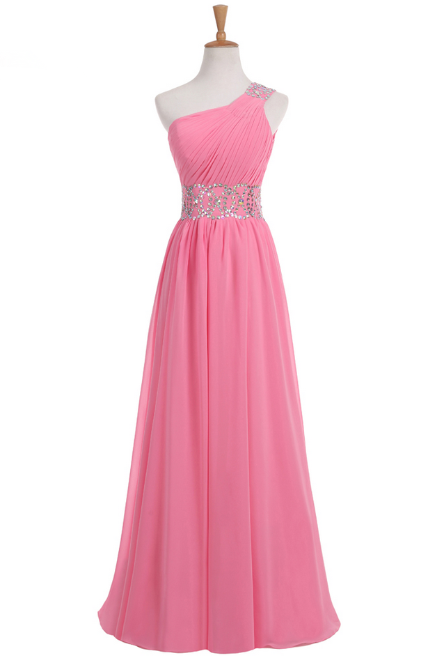 Pink Evening Dresses A-line One-shoulder Length Chiffon Beaded Open ...