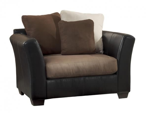 Masoli Contemporary Mocha Faux Leather Fabric Chair And A Half