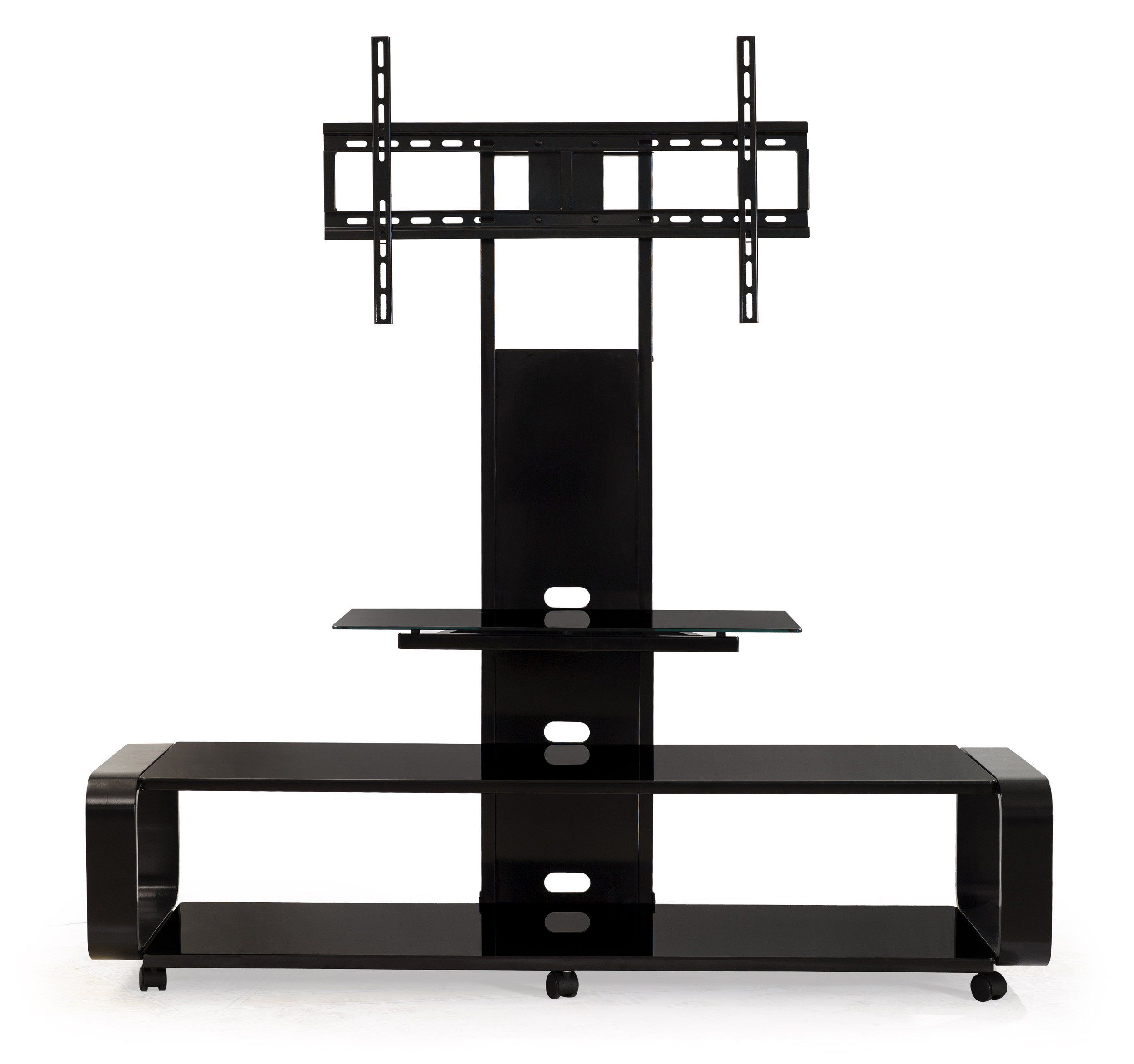 Transdeco Td655b Multi Function Tv Stand With Universal Mount And Caster For 40 80 Inch Lc Tv Stand Wood Tv Stand And Entertainment Center Flat Screen Tv Stand