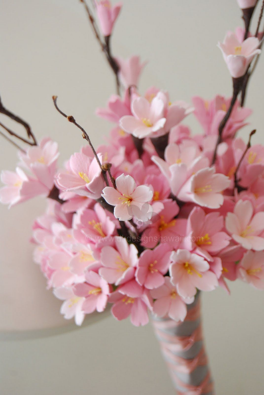 Bridesmaid Cherry Blossom Bouquet Would Be Perfect With Some Red