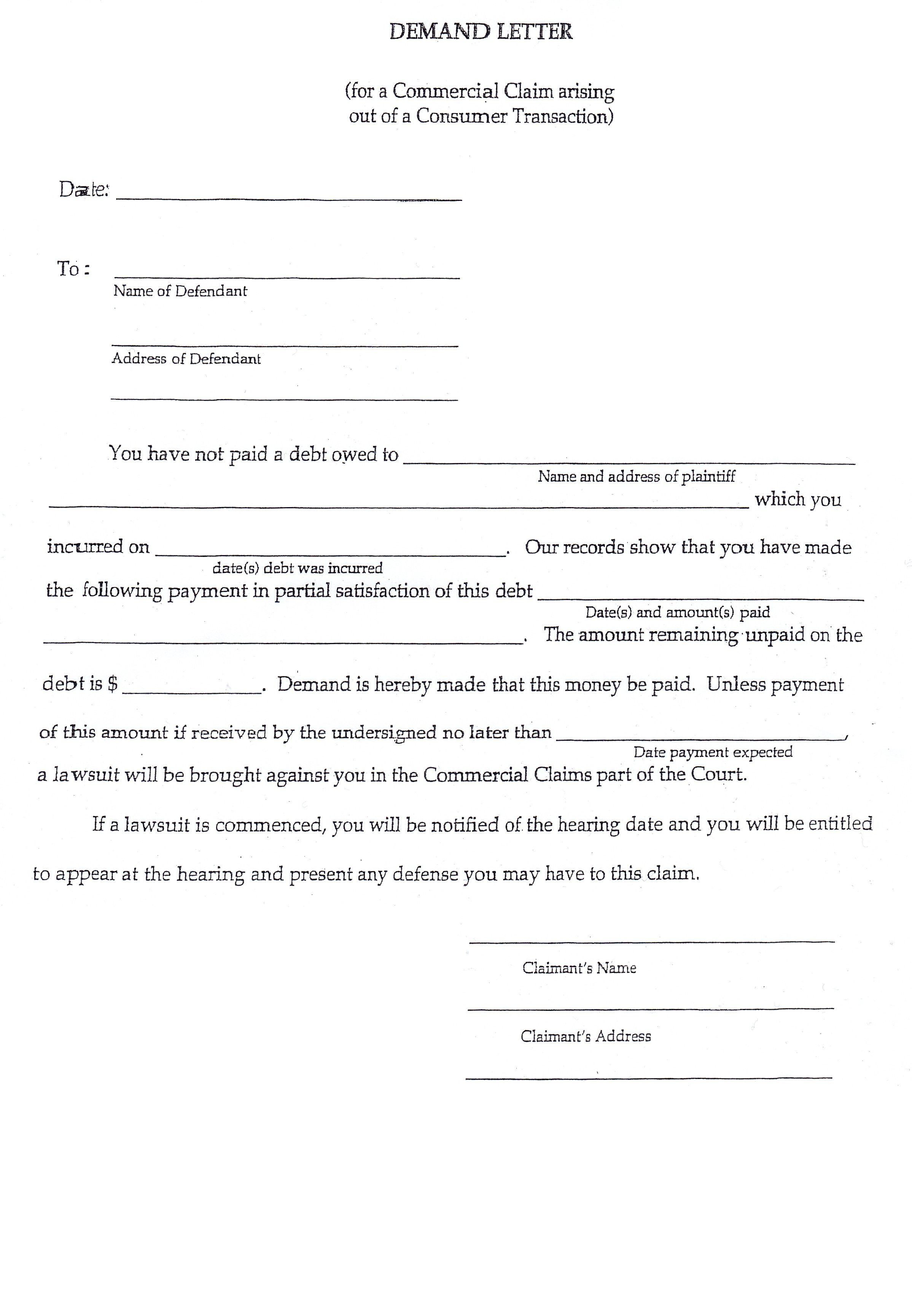 small claims demand letter sample court