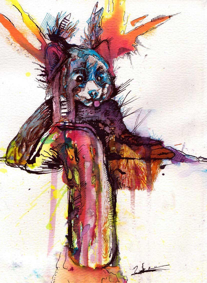 Rachu the Red Panda Indian Ink & Tea 2015 Luke