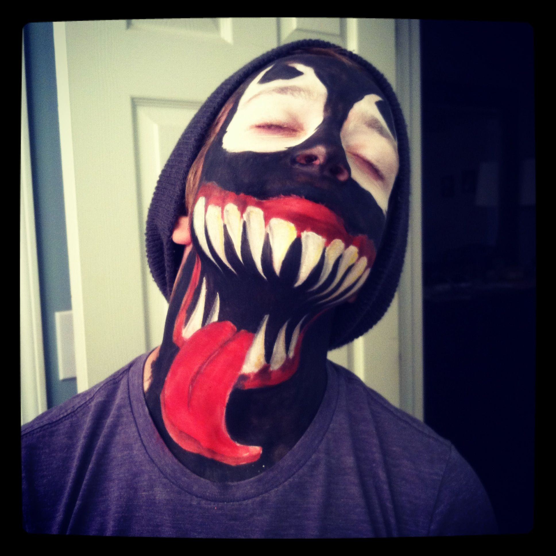 Venom character from spider man my kids face painted this for venom character from spider man my kids face painted this for spirit week at baditri Images