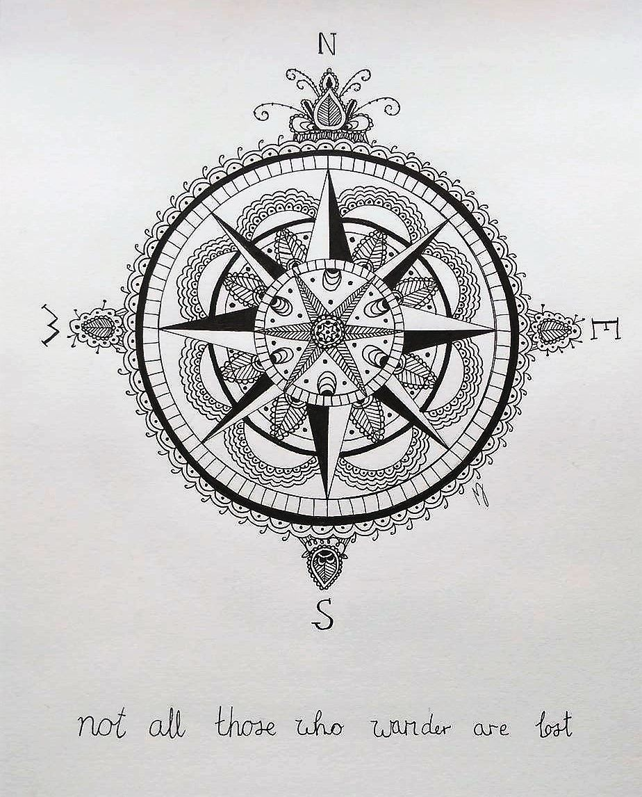 Not All Those Who Wander Are Lost Tattoo Compass Zentangle Compass Not All Those Who Wander Are Lost Mathilde Jakobsen Compass Cover Tattoo Compass Tattoo