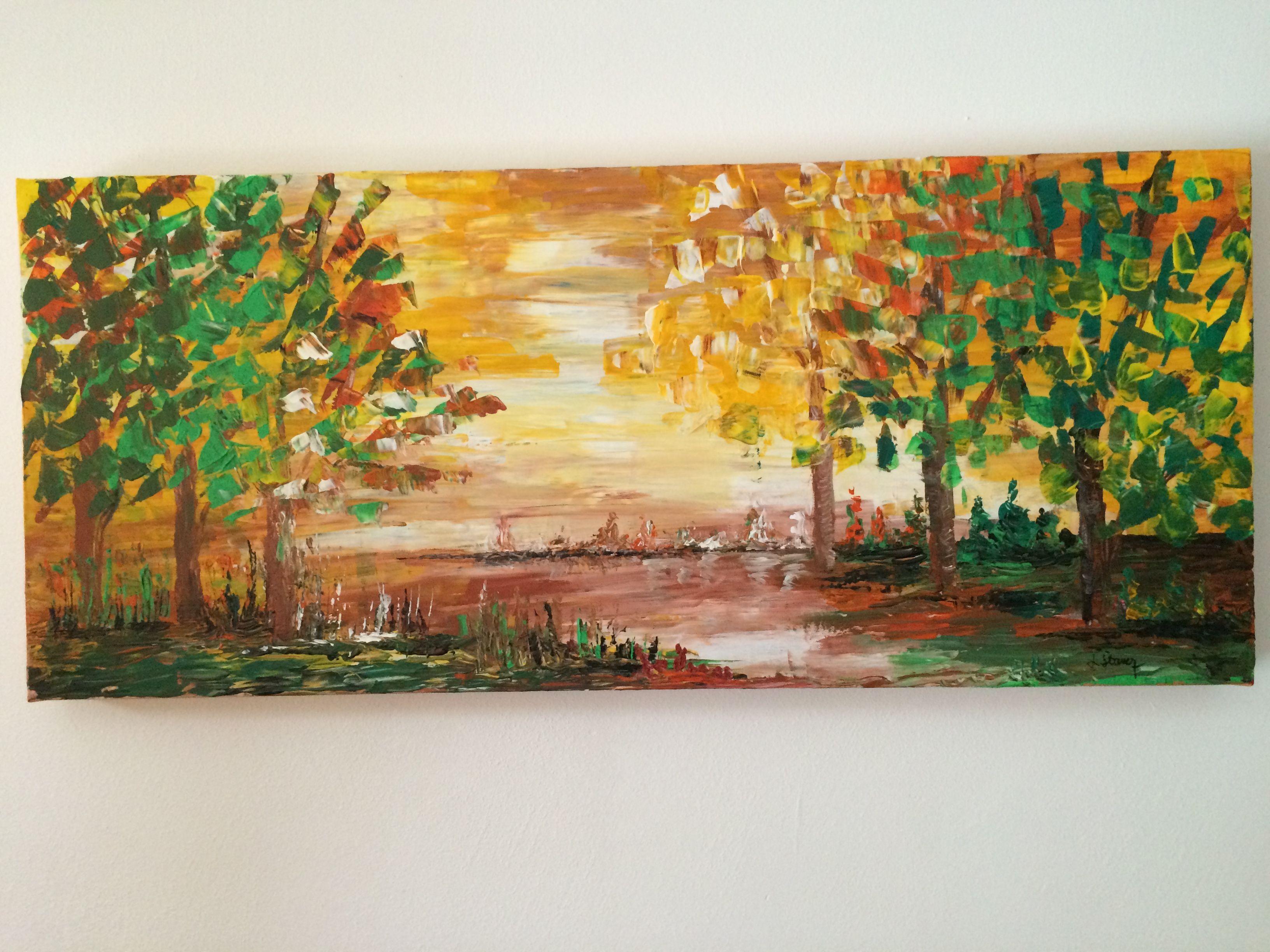 """Autumnal Atmosphere"",  Acryl auf Leinwand (100x40), Linde OG"
