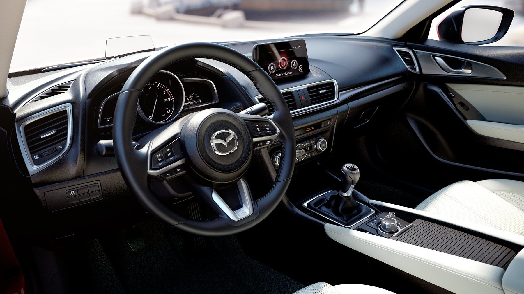 Love the leather wrapped steering wheel on the 2018 Mazda3