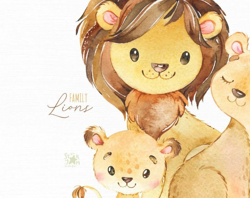 Lions Family Watercolor Little Animal Clipart Cubs Mother Father Lion Girl Hugs Wreath Love Birthday Greeting Baby Born Baby Shower Lion Family Animal Clipart Lions