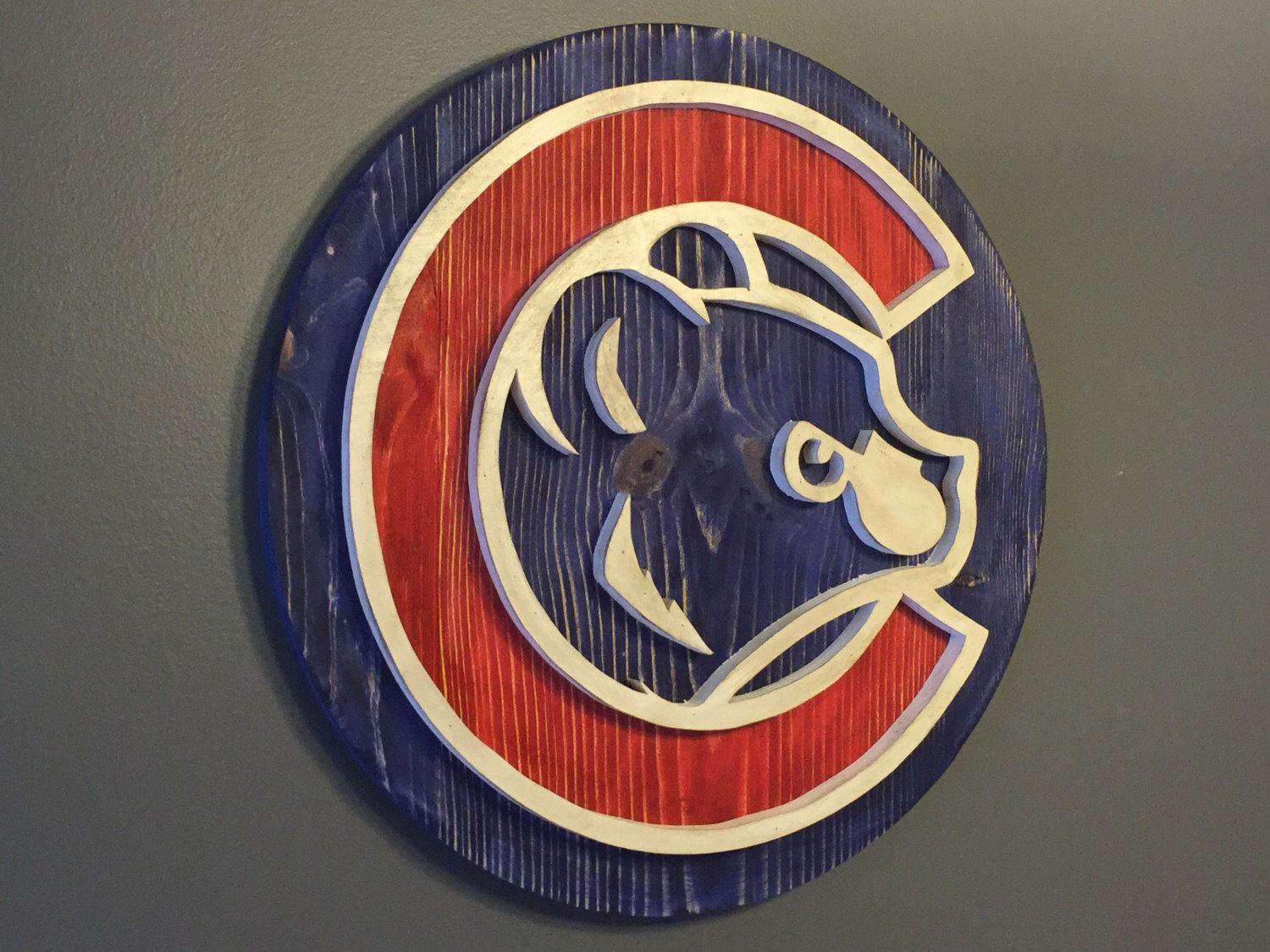 9723e2bc2 Custom Chicago Cubs Hand Scrolled Wood Logo 3D Wall Art by ReclaimedYankee  on Etsy https