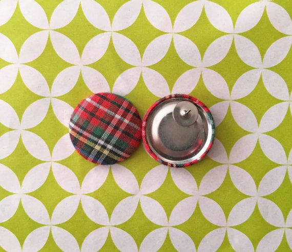 Fabric Covered Button Earrings / Red Plaid / by ManhattanHippy