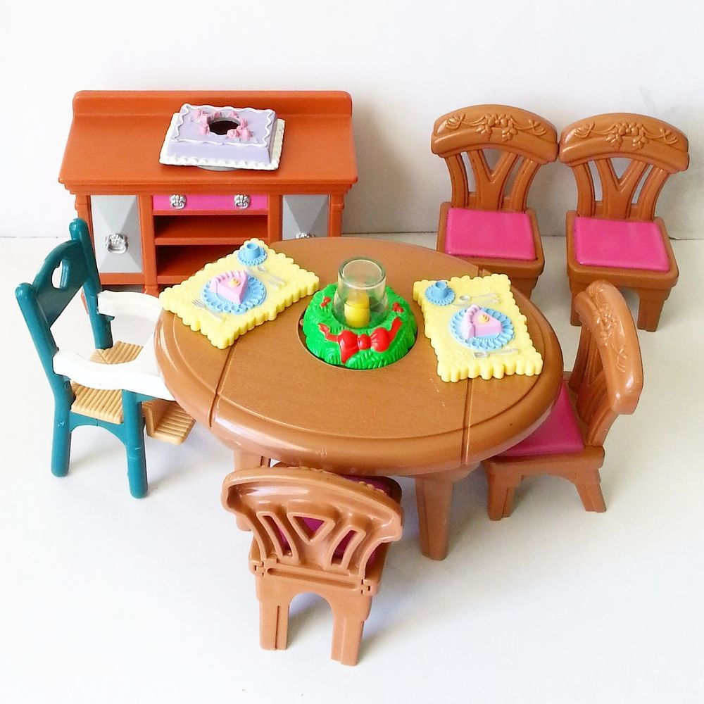 FISHER PRICE LOVING FAMILY Dining Set Chairs Booster Buffet Cake Christmas  Table  FisherPrice. FISHER PRICE LOVING FAMILY Dining Set Chairs Booster Buffet Cake