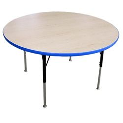 """Advantage 4 foot Round Adjustable Activity Table -  Adjustable legs work as both younger childrens' activity tables as well as older school kids activity tables for the higher grades, seating up to four students comfortably.  The sturdy metal legs on these adjust from 19"""" - 30"""" with black powder coating on the upper portion, chrome plating on the lower portion, and chair glides on each leg.  [AT48R]"""