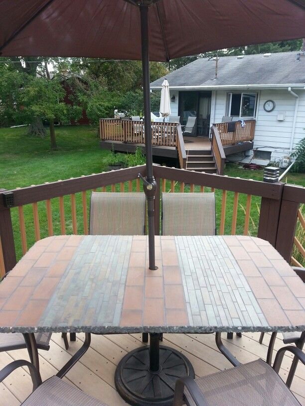 Refurbished Patio Table With Porcelain Tile And Versatile Quarry Stone
