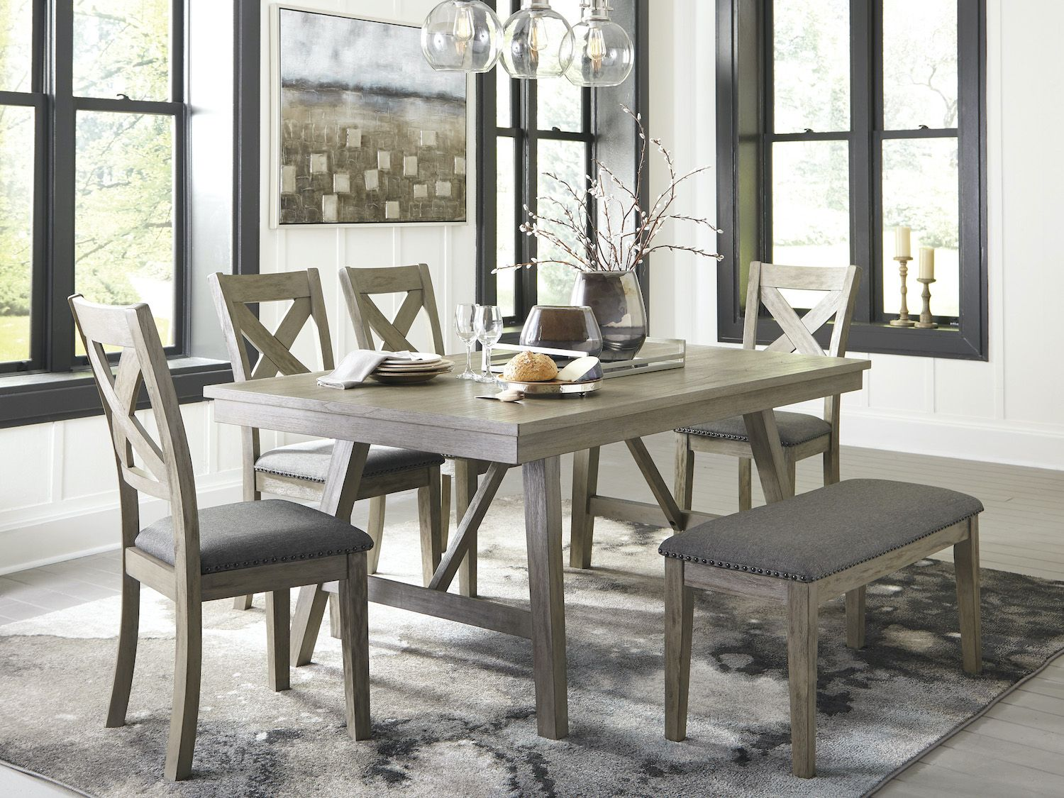 Modern Dining Table With Bench  Farmhouse Style  Aldwin 9 PC ...