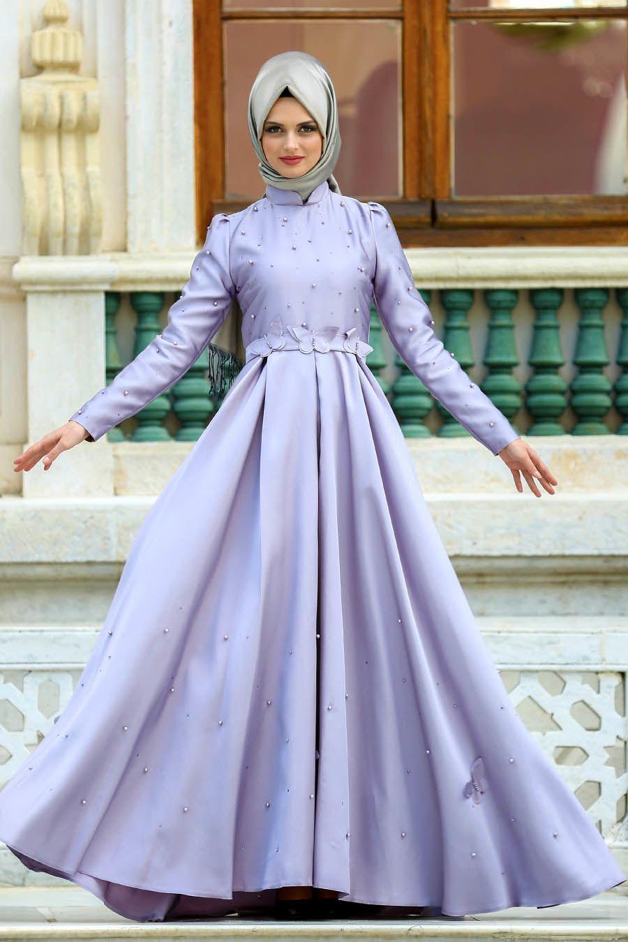 Puane Kelebek Detayli Lila Tesettur Abiye Elbise 8158lila Moda Stilleri The Dress Victorian Elbiseler