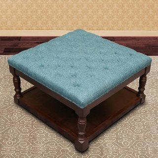 Prime Cairona Fabric 30 Inch Tufted Shelved Ottoman Coffee Table Machost Co Dining Chair Design Ideas Machostcouk