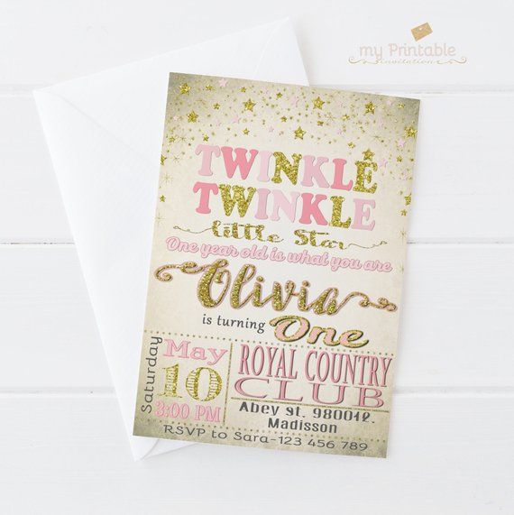Twinkle Little Star Invitation Digital Printable Invite For Kids First Birthday Party DIY 1st
