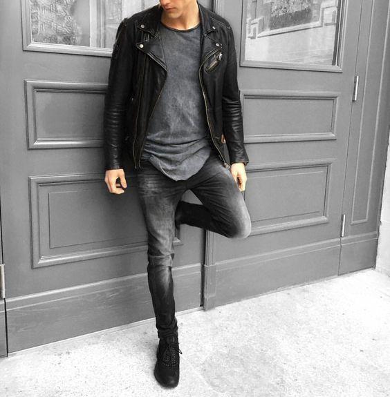 perfecto noir port avec un t shirt gris long et un jeans noir d lav perfecto look style. Black Bedroom Furniture Sets. Home Design Ideas
