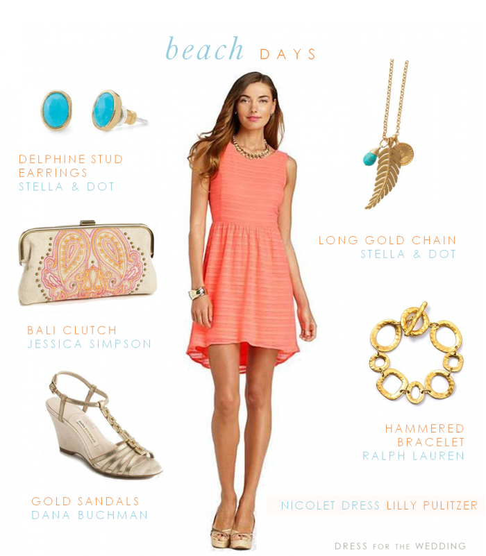 Coral Blue And Gold Beach Wedding OutfitsWedding Guest