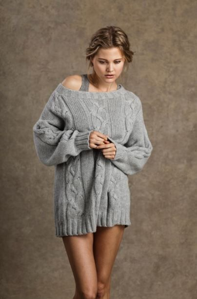 Oversized cable knitted sweaters, light grey loose Oversize ...