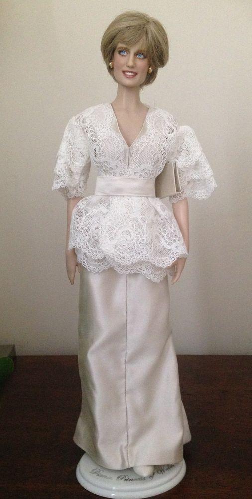 Princess Diana doll Franklin Mint Vinyl Dress Ivory Silk and Lace ...