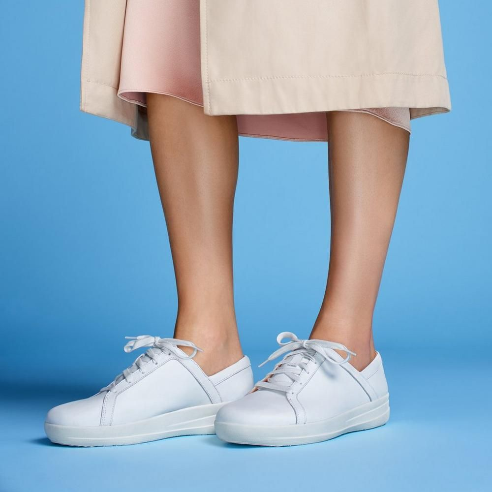 fitflop white leather sneakers