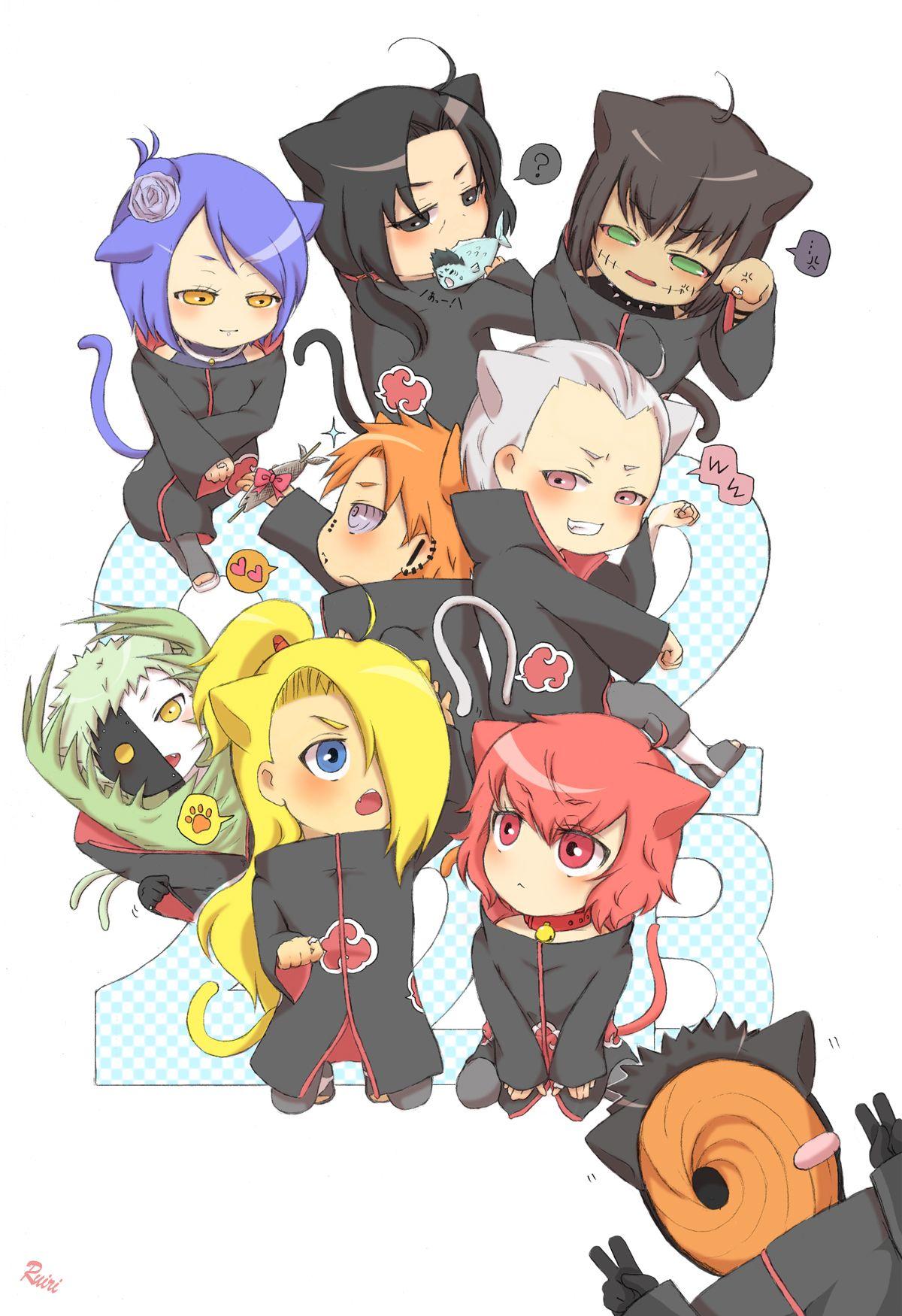 Akatsuki chibi - Konan, Itachi, Kisame, Kakuzu, Yahiko, Hidan, Zetsu, Deidara, Sasori and Tobi alle mit Katzen Ohren und Schwanz nya