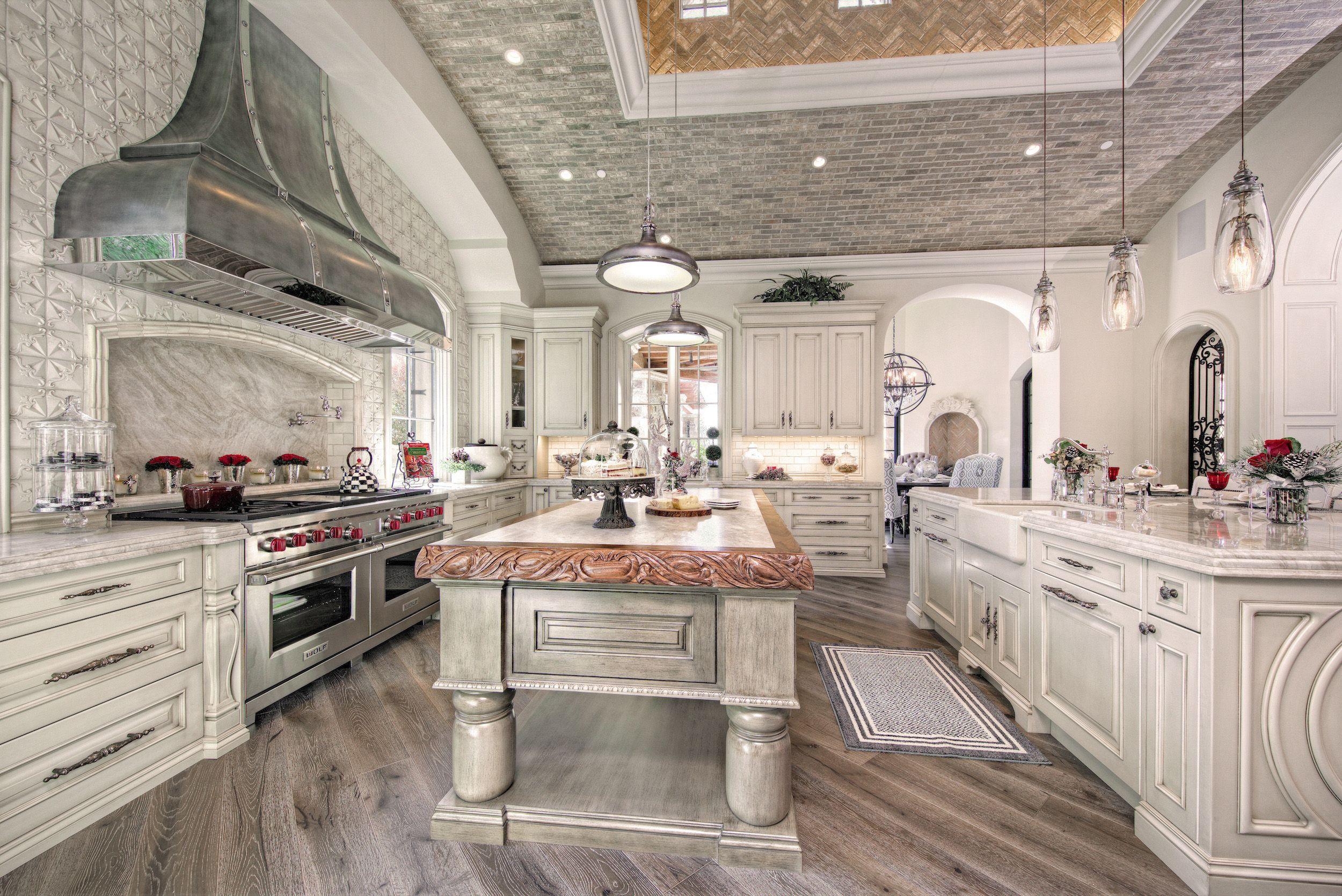 Best Luxury French Villa Custom Home Kitchen With White Wood 400 x 300