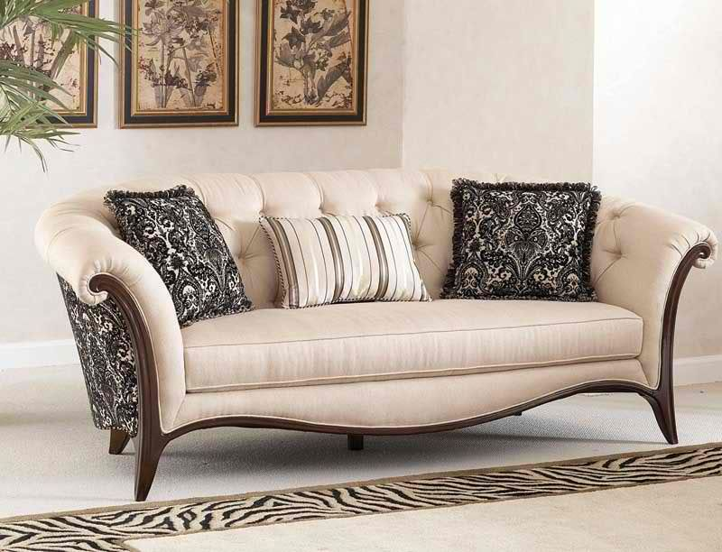 Wood Trim Furniture Sofa Set Wooden New Design Fabric Chaise