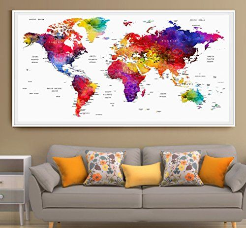 Original by artfravu xlarge 19x39 and 27x55 art poste https large world map wall art print large world map art extra large wall art watercolor push pin travel map poster gumiabroncs Images
