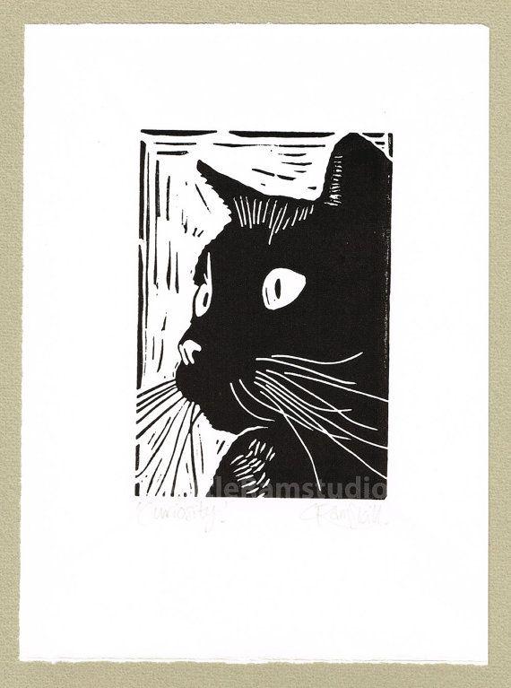 Black+Cat+Art+Print++'Curiosity'+Linocut+by+littleRamstudio