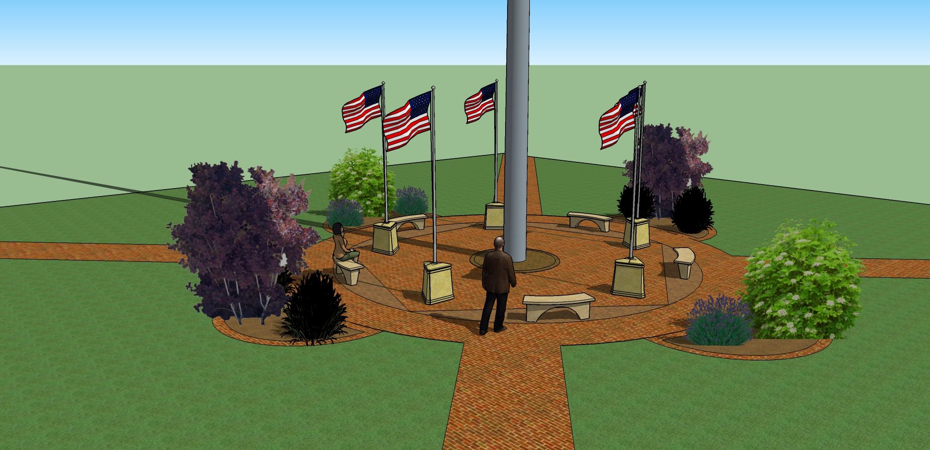 Veterans Monuments Flagpole Base Memorials | Big-Flagpole-Plus-5-Small-Flags-A