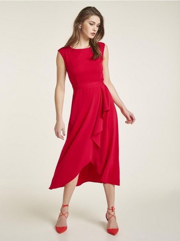 Heine Timeless Kleid Mit Volant Rot Im Heine Online Shop Kaufen Kleid Mit Volant Kleider Kleidung