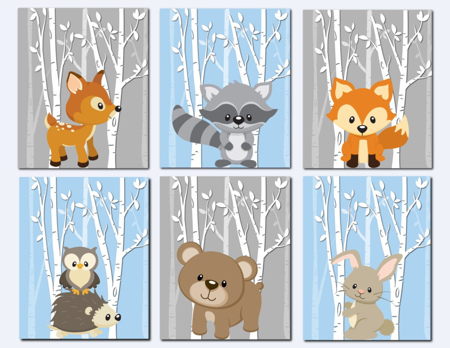 Woodland Nursery Decor Animals Wall Art Boys S Gray Blue Trees Fox Deer Bunny