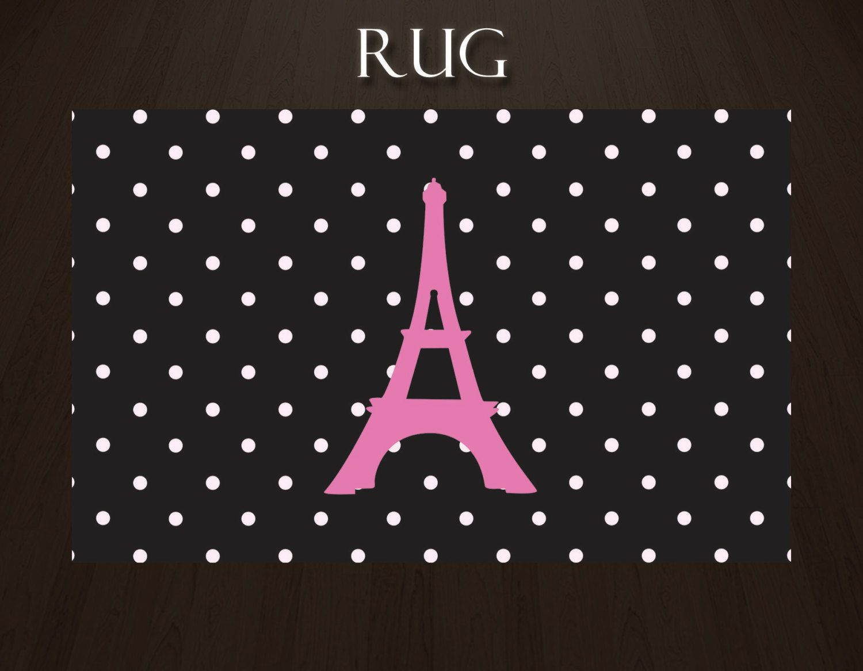 Polka Dot Area Rug Paris With Eiffel Tower Plush Pink