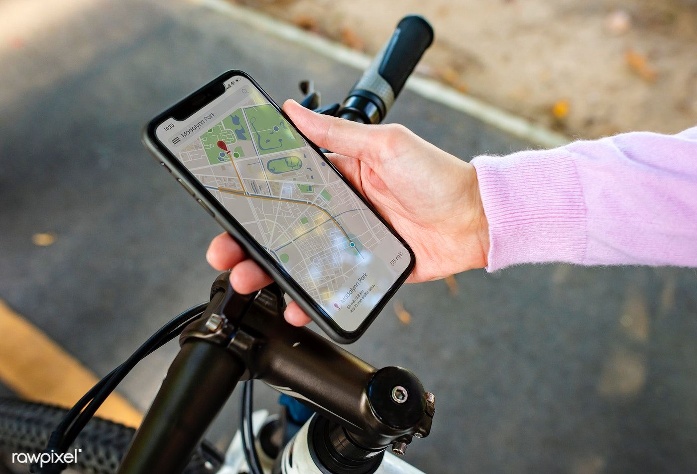 Download premium image of Navigation map on a smartphone