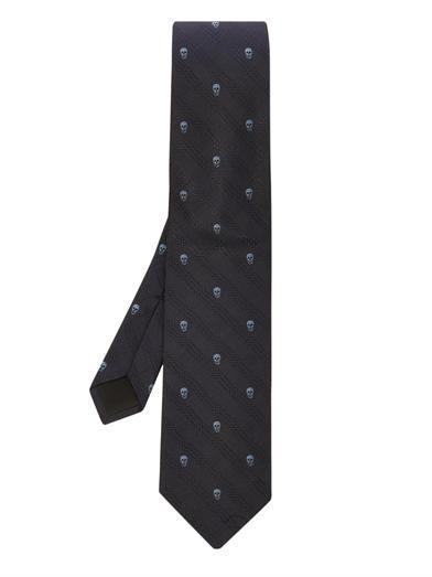 Alexander McQueen Jacquard Pattern Black Silk Tie Brand New