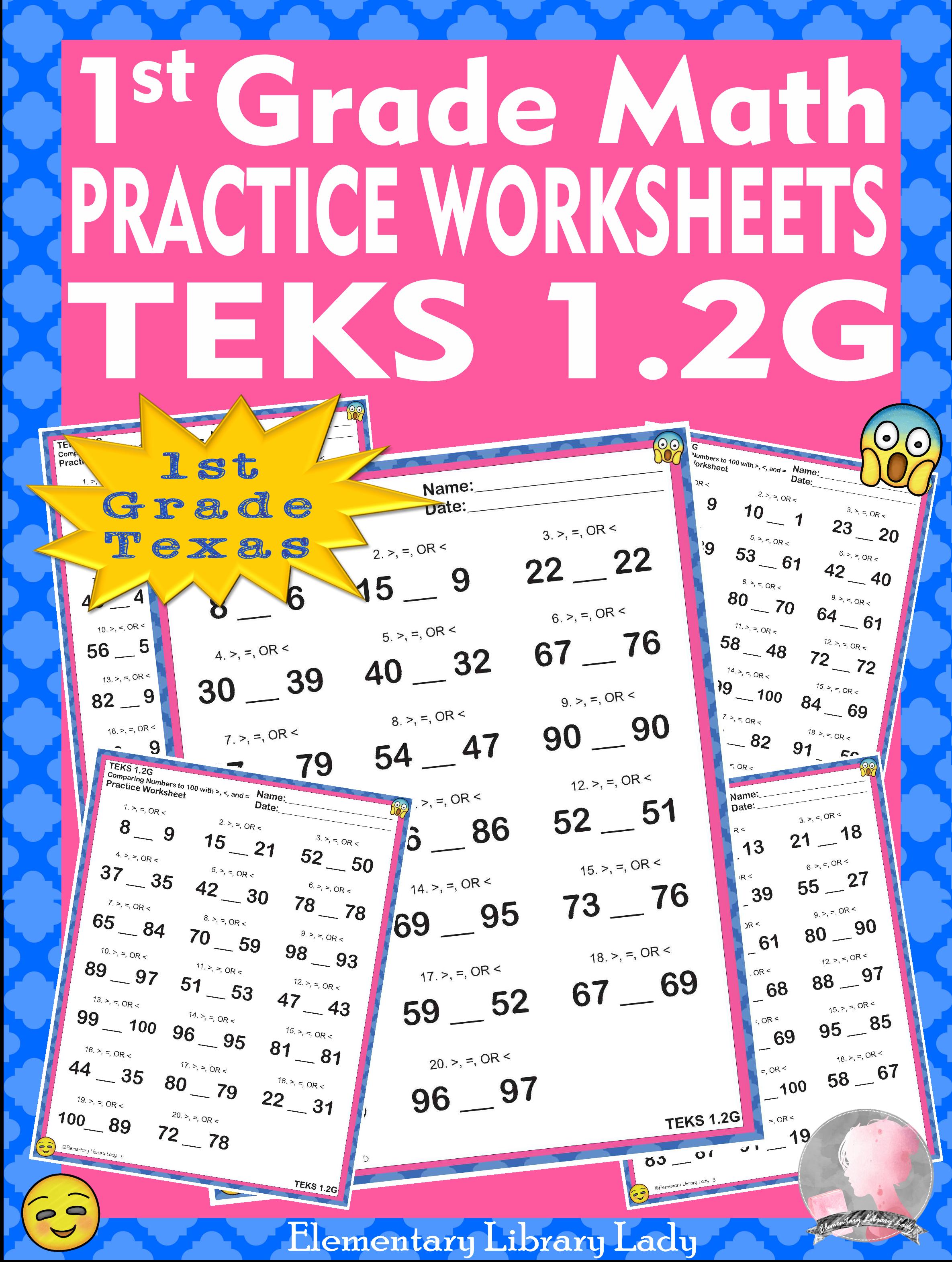 Math Teks 1 2g Texas 1st Grade Practice Worksheets Greater