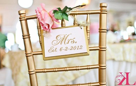 SPARKLING Gold Wedding Signs MR. and MRS. Wedding Chair Signs ...