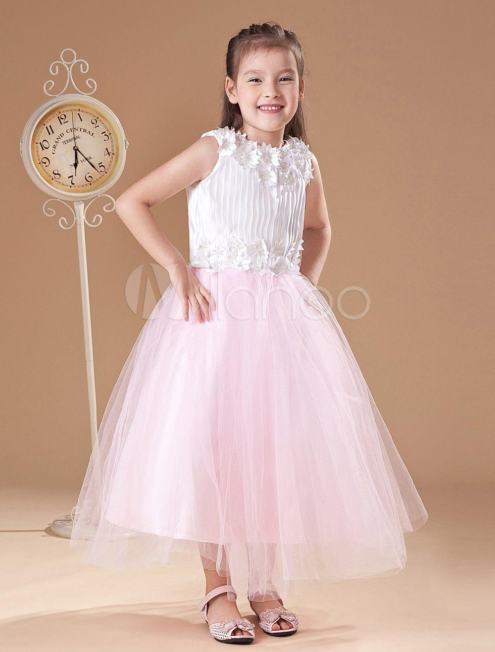 Milanoo ltd flower girl dresses elegant pink aline jewel