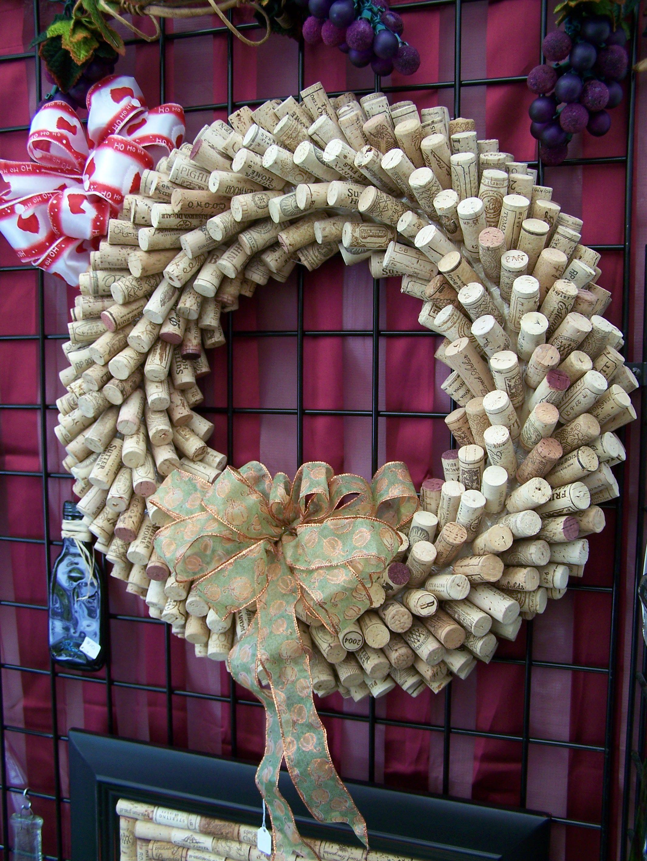 Nice holiday version cork wreath Cork It Pinterest