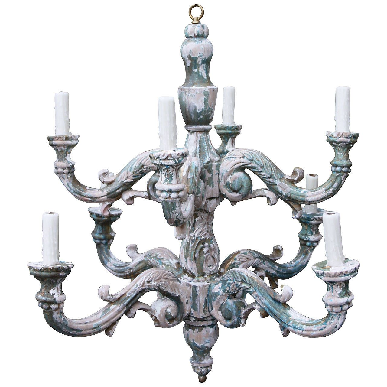 Italian Painted Eight-Light Chandelier | From a unique collection of antique and modern chandeliers and pendants  at https://www.1stdibs.com/furniture/lighting/chandeliers-pendant-lights/