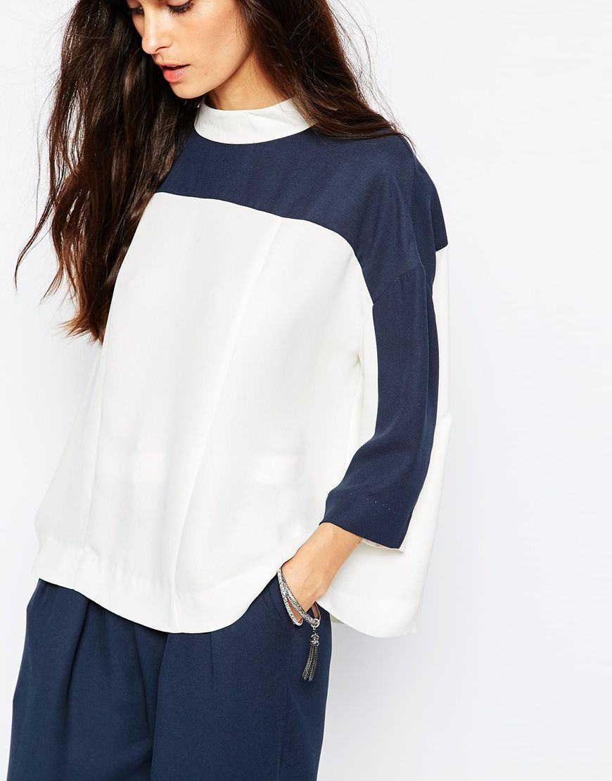 Image 3 of Just Female Gibbs Blouse in White and Blue