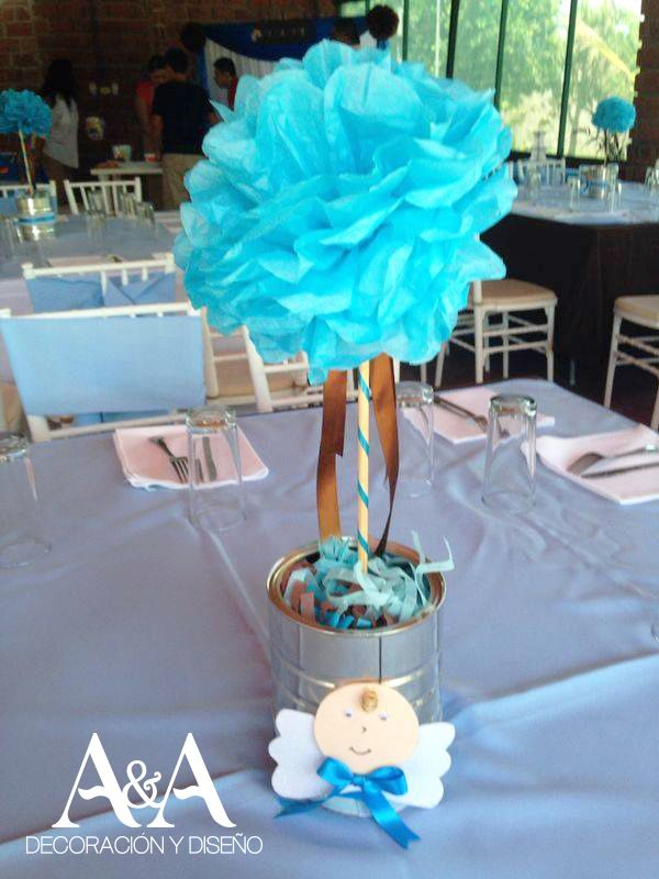 Centro de mesa para bautizo party pinterest