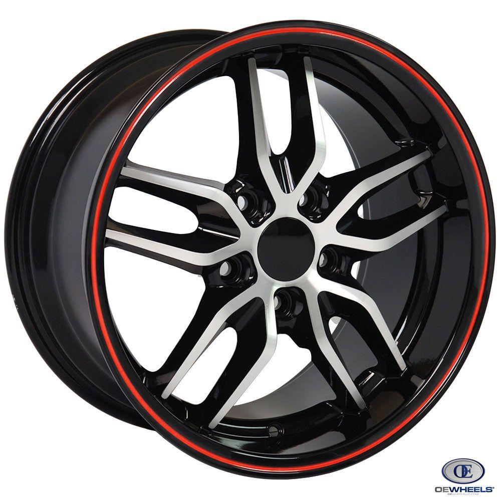 Fits Corvette Wheel Stingray Rim Cv18a 18x10 5 Black Mach D Redline Corvette Rim Corvette Wheels Corvette Rims Corvette