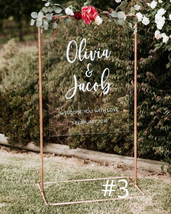 Custom Copper Wedding Welcome Stand Wedding Welcome Signs