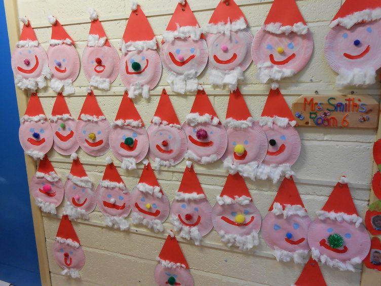 Christmas Craft Ideas Ks1 Part - 33: Painted Santa Display, Classroom Display, Class Display, Creative, Christmas,  Santa,