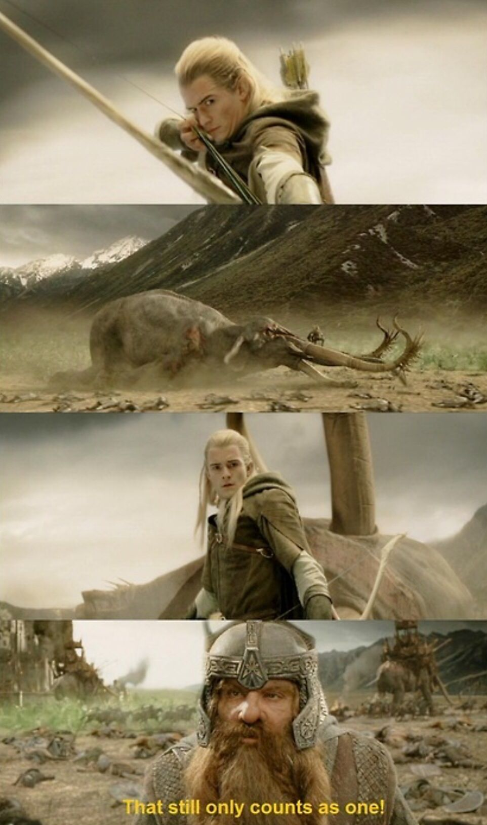 That sums up Gimli and Legolas's relationship. lol XD ...