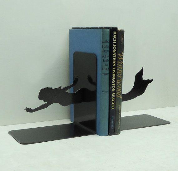 Mermaid Bookends - handmade and designed by Knob Creek Metal Arts