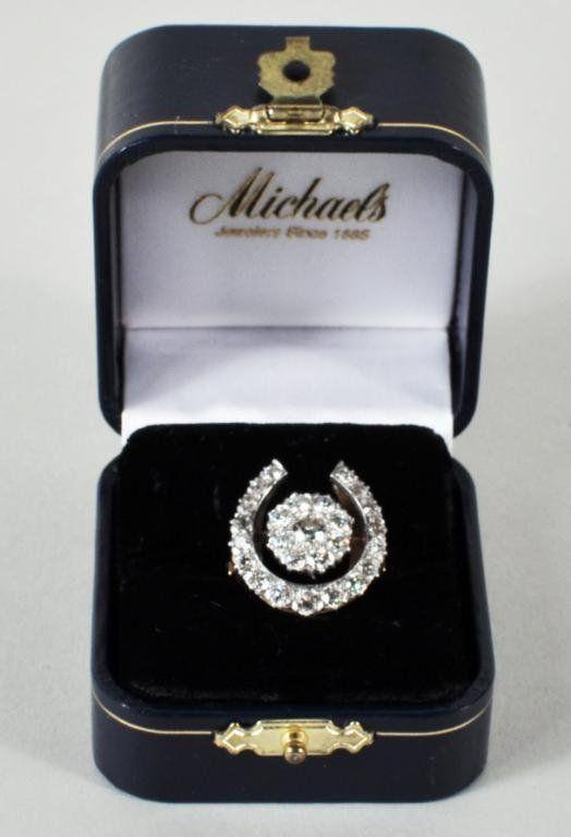 114 La s 14K Gold & Diamond Horseshoe Ring Lot 114